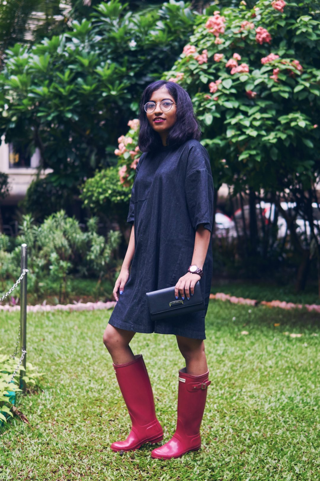 Mumbai Monsoon Style, Hunter Rain Boots Cranberry
