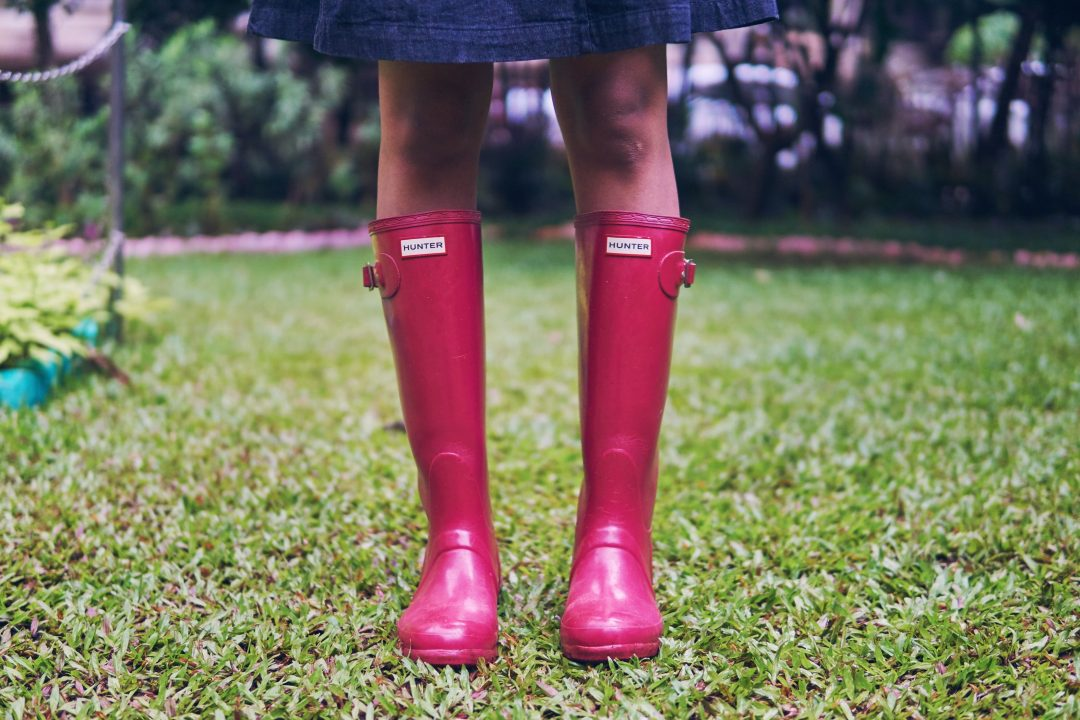 Mumbai Monsoon Style, Hunter Original Tall Gloss Rain Boots in Cranberry